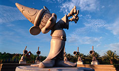 Statue of Mickey Mouse Sorcerer casting a spell